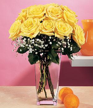 Bingöl Gölüm Çiçek internetten çiçek satışı  9 adet sari güllerden cam yada mika vazo