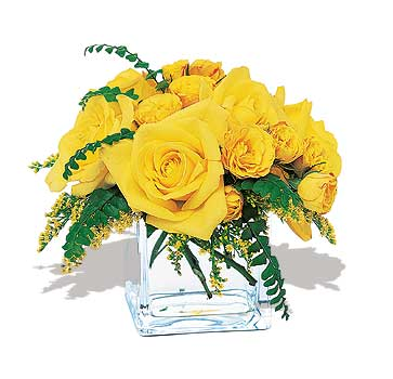 karisik sari güller ve cam  Bingöl Gölüm Çiçek çiçek yolla , çiçek gönder , çiçekçi