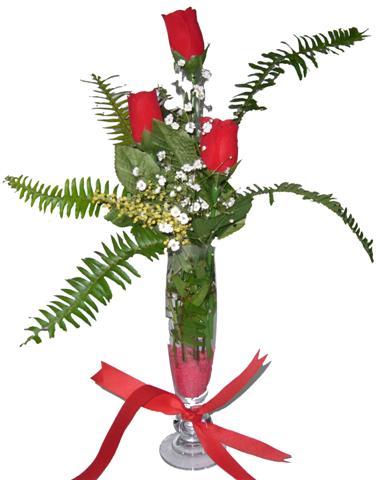 Bingöl Gölüm Çiçek çiçekçi telefonları  3 adet kirmizi gül ve cam tanzim