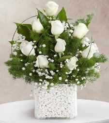 9 beyaz gül vazosu  Bingöl Gölüm Çiçek çiçek satışı