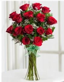Cam vazo içerisinde 11 kırmızı gül vazosu  Bingöl Gölüm Çiçek anneler günü çiçek yolla