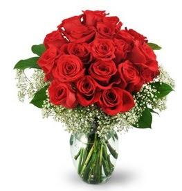 25 adet kırmızı gül cam vazoda  Bingöl Gölüm Çiçek çiçek , çiçekçi , çiçekçilik