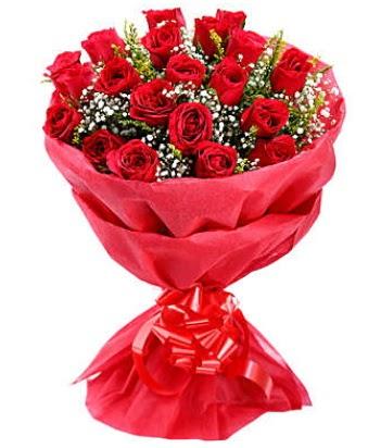 21 adet kırmızı gülden modern buket  Bingöl Gölüm Çiçek çiçek gönderme