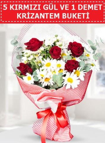 5 adet kırmızı gül ve krizantem buketi  Bingöl Gölüm Çiçek çiçek satışı