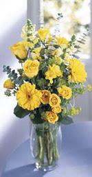 Bingöl Gölüm Çiçek online çiçek gönderme sipariş  sari güller ve gerbera cam yada mika vazo