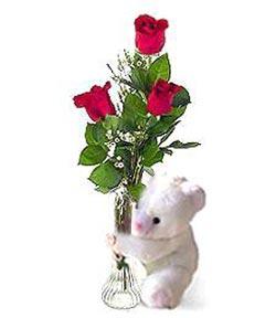 oyuncak ve 3 adet gül  Bingöl Gölüm Çiçek çiçek siparişi sitesi
