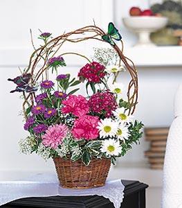 Bingöl Gölüm Çiçek cicekciler , cicek siparisi  sepet içerisinde karanfil gerbera ve kir çiçekleri
