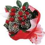 Bingöl Gölüm Çiçek internetten çiçek satışı  KIRMIZI AMBALAJ BUKETINDE 12 ADET GÜL