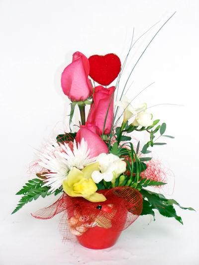 Bingöl Gölüm Çiçek ucuz çiçek gönder  cam içerisinde 3 adet gül ve kir çiçekleri