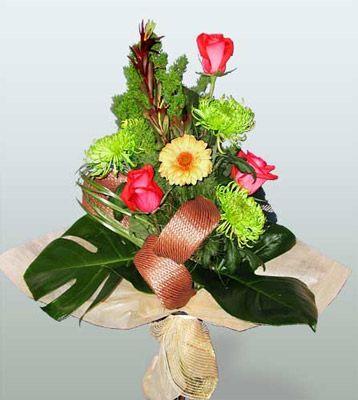 Bingöl Gölüm Çiçek ucuz çiçek gönder  3 adet gül 4 adet gerbera çiçegi sade buket