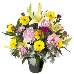 karisik mevsim çiçeklerinden vazo tanzimi  Bingöl Gölüm Çiçek uluslararası çiçek gönderme