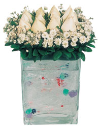 Bingöl Gölüm Çiçek çiçekçi mağazası  7 adet beyaz gül cam yada mika vazo tanzim