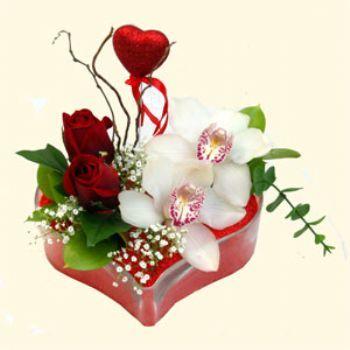 Bingöl Gölüm Çiçek hediye sevgilime hediye çiçek  1 kandil orkide 5 adet kirmizi gül mika kalp