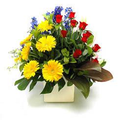 Bingöl Gölüm Çiçek online çiçek gönderme sipariş  9 adet gül ve kir çiçekleri cam yada mika vazoda