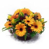 gerbera ve kir çiçek masa aranjmani  Bingöl Gölüm Çiçek çiçek siparişi vermek