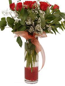 Bingöl Gölüm Çiçek uluslararası çiçek gönderme  11 adet kirmizi gül vazo çiçegi