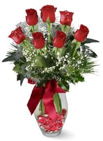 7 adet vazoda gül  Bingöl Gölüm Çiçek internetten çiçek satışı  kirmizi gül