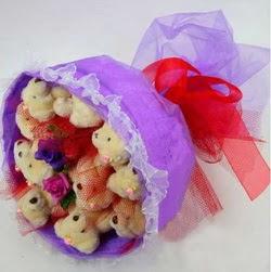 11 adet ayiciktan buket  Bingöl Gölüm Çiçek internetten çiçek siparişi