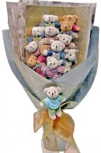 12 adet ayiciktan buket tanzimi  Bingöl Gölüm Çiçek cicek , cicekci