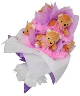 9 adet ayiciktan buket  Bingöl Gölüm Çiçek hediye sevgilime hediye çiçek