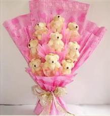 9 adet pelus ayicik buketi  Bingöl Gölüm Çiçek anneler günü çiçek yolla