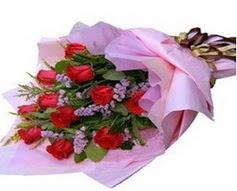 11 adet kirmizi güllerden görsel buket  Bingöl Gölüm Çiçek çiçek gönderme sitemiz güvenlidir
