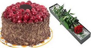 1 adet yas pasta ve 1 adet kutu gül  Bingöl Gölüm Çiçek uluslararası çiçek gönderme