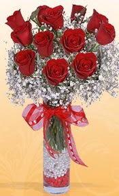 10 adet kirmizi gülden vazo tanzimi  Bingöl Gölüm Çiçek çiçek siparişi sitesi