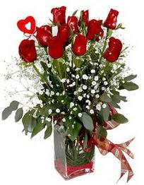 Bingöl Gölüm Çiçek çiçek siparişi vermek  9 adet mika yada cam vazoda gül tanzimi kalp çubuk