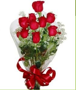 Bingöl Gölüm Çiçek uluslararası çiçek gönderme  10 adet kırmızı gülden görsel buket