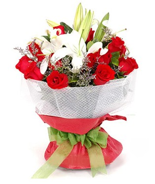 Bingöl Gölüm Çiçek hediye çiçek yolla  1 dal kazablanka 11 adet kırmızı gül buketi
