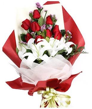 Bingöl Gölüm Çiçek çiçekçiler  1 dal kazablankaa 9 adet kırmızı gül buketi