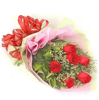 Bingöl Gölüm Çiçek çiçek , çiçekçi , çiçekçilik  6 adet kırmızı gülden buket