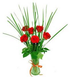 Bingöl Gölüm Çiçek çiçek , çiçekçi , çiçekçilik  6 adet kırmızı güllerden vazo çiçeği