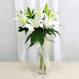 Bingöl Gölüm Çiçek anneler günü çiçek yolla  2 dal kazablanka ile yapılmış vazo çiçeği