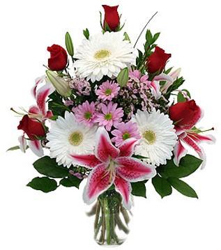Bingöl Gölüm Çiçek çiçek mağazası , çiçekçi adresleri  1 dal kazablanka 5 gül ve kırçiçeği vazosu