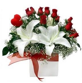 Bingöl Gölüm Çiçek çiçekçi mağazası  1 dal kazablanka 11 adet kırmızı gül vazosu