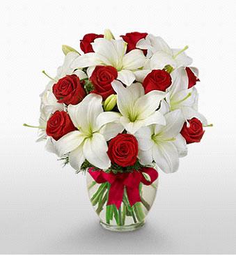 Bingöl Gölüm Çiçek hediye çiçek yolla  1 dal kazablanka 11 adet kırmızı gül vazosu