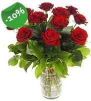 11 adet vazo içerisinde kırmızı gül  Bingöl Gölüm Çiçek online çiçek gönderme sipariş