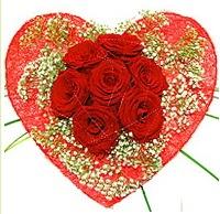 Mika kalp içerisinde 7 adet kırmızı gül  Bingöl Gölüm Çiçek çiçekçi mağazası