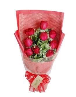 9 adet kırmızı gülden görsel buket  Bingöl Gölüm Çiçek ucuz çiçek gönder