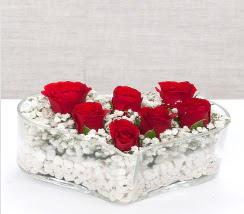 kalp içerisinde 7 adet kırmızı gül  Bingöl Gölüm Çiçek çiçek siparişi vermek