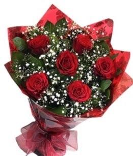 6 adet kırmızı gülden buket  Bingöl Gölüm Çiçek yurtiçi ve yurtdışı çiçek siparişi