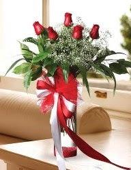Camda 5 kırmızı gül tanzimi  Bingöl Gölüm Çiçek çiçekçi telefonları