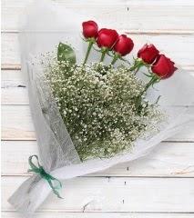 5 kırmızı gülden sade buket  Bingöl Gölüm Çiçek çiçek yolla