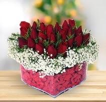 15 kırmızı gülden kalp mika çiçeği  Bingöl Gölüm Çiçek çiçek satışı