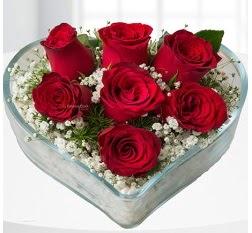 Kalp içerisinde 7 adet kırmızı gül  Bingöl Gölüm Çiçek çiçek servisi , çiçekçi adresleri