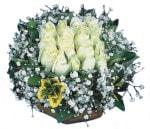 Bingöl Gölüm Çiçek çiçekçiler  Beyaz harika bir gül sepeti