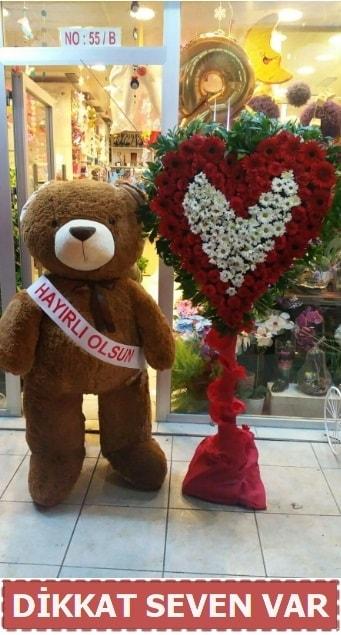 1.5 Metre peluş ayı ve Kalp  Bingöl Gölüm Çiçek çiçek gönderme sitemiz güvenlidir
