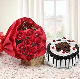 12 adet kırmızı gül 4 kişilik yaş pasta  Bingöl Gölüm Çiçek çiçek , çiçekçi , çiçekçilik